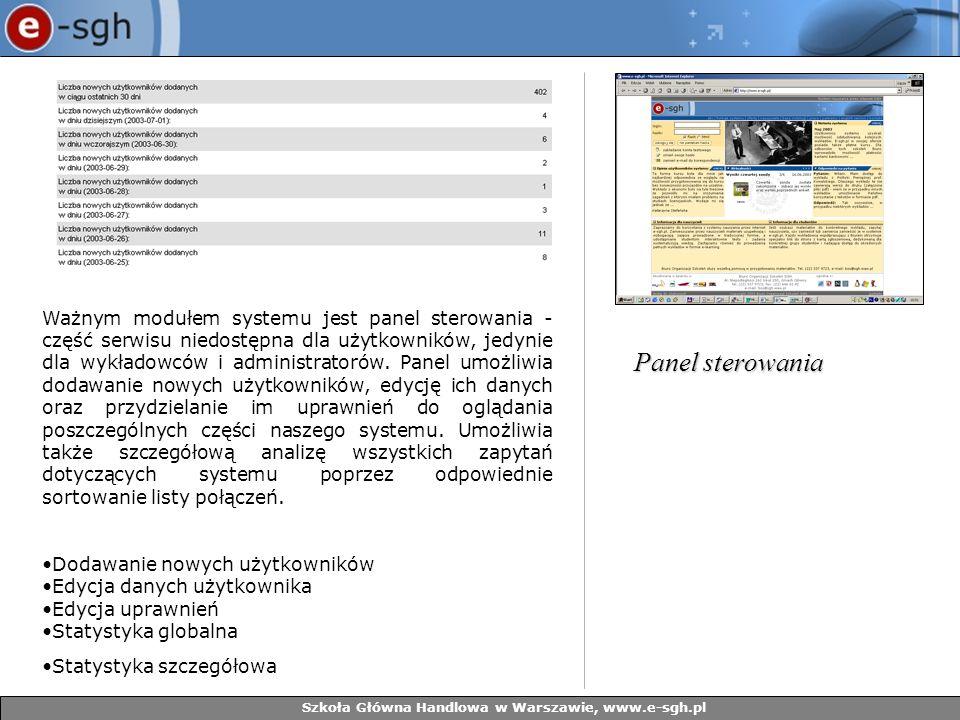 Szkoła Główna Handlowa w Warszawie, www.e-sgh.pl Ważnym modułem systemu jest panel sterowania - część serwisu niedostępna dla użytkowników, jedynie dl