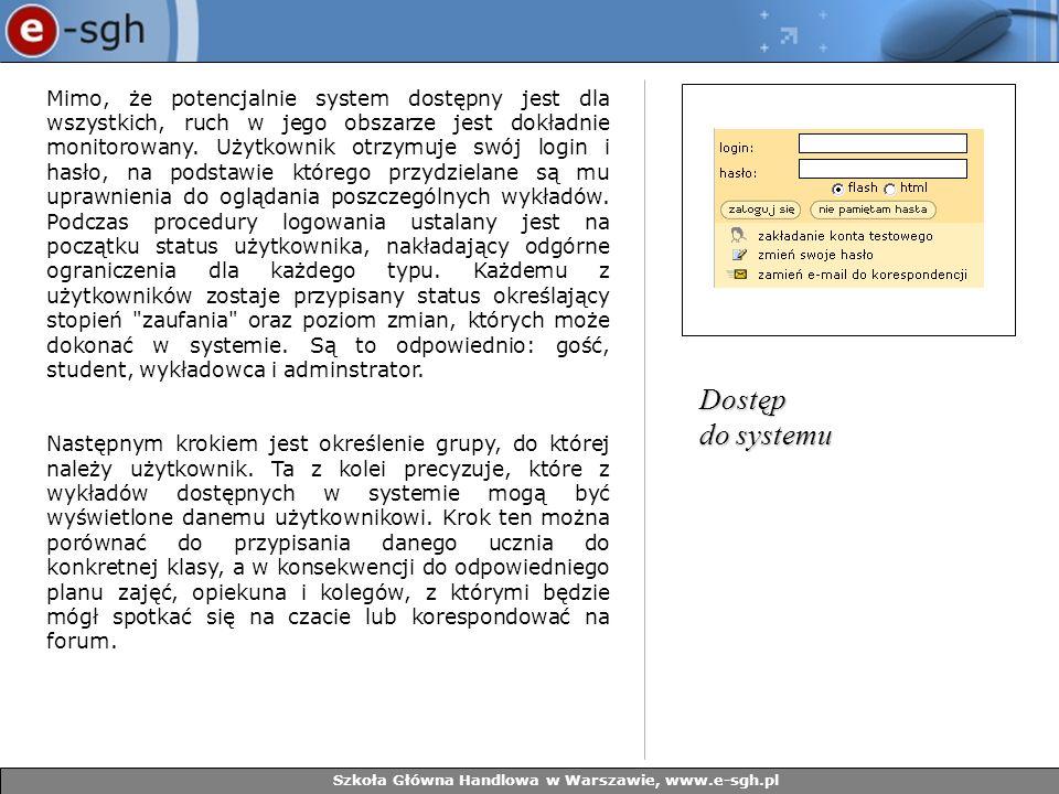 Szkoła Główna Handlowa w Warszawie, www.e-sgh.pl Mimo, że potencjalnie system dostępny jest dla wszystkich, ruch w jego obszarze jest dokładnie monito