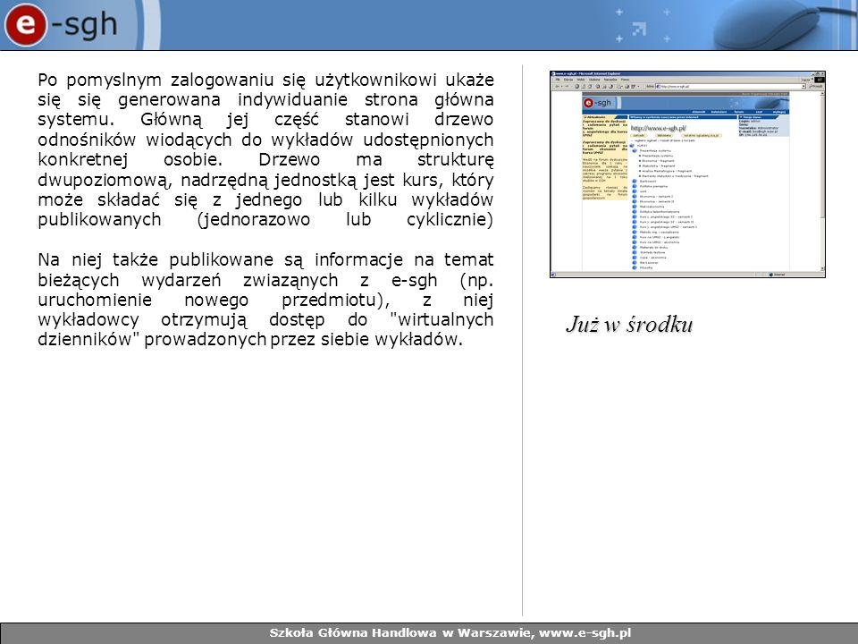 Szkoła Główna Handlowa w Warszawie, www.e-sgh.pl Po pomyslnym zalogowaniu się użytkownikowi ukaże się się generowana indywiduanie strona główna system