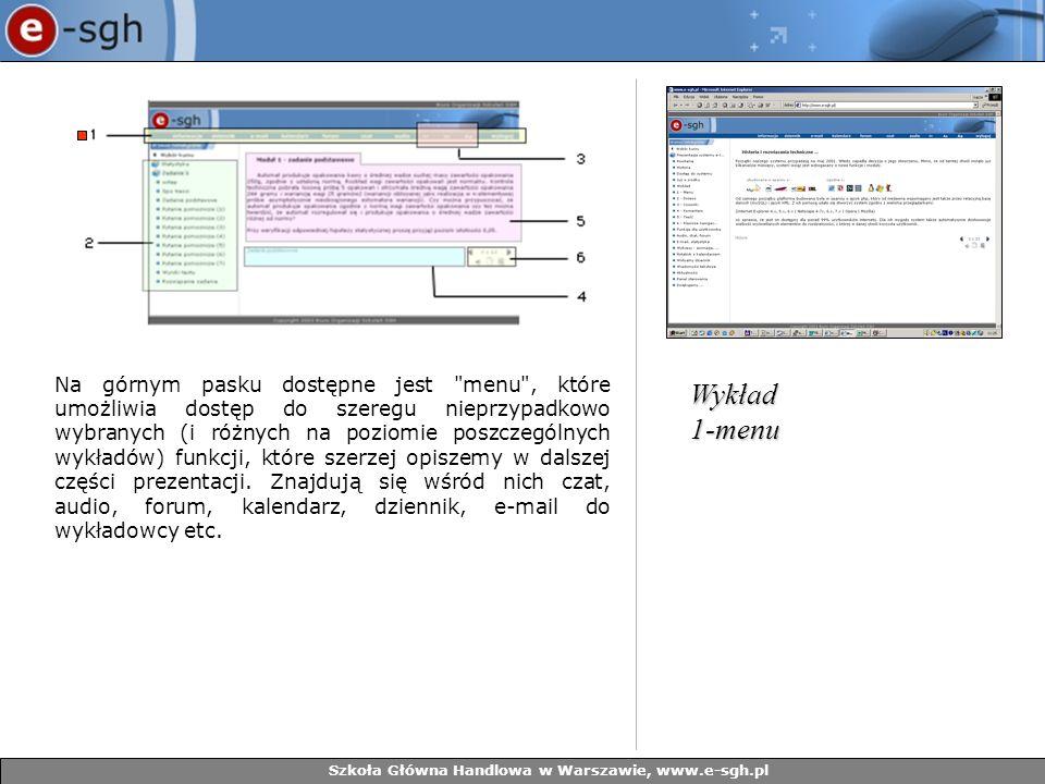 Szkoła Główna Handlowa w Warszawie, www.e-sgh.pl Poniżej Menu w każdym wykładzie znajduje się drzewo tematyczne, które dokładnie opisuje strukturę danego wykładu poprzez przytoczenie listy zagadnień, poruszanych na poszczególnych slajdach.