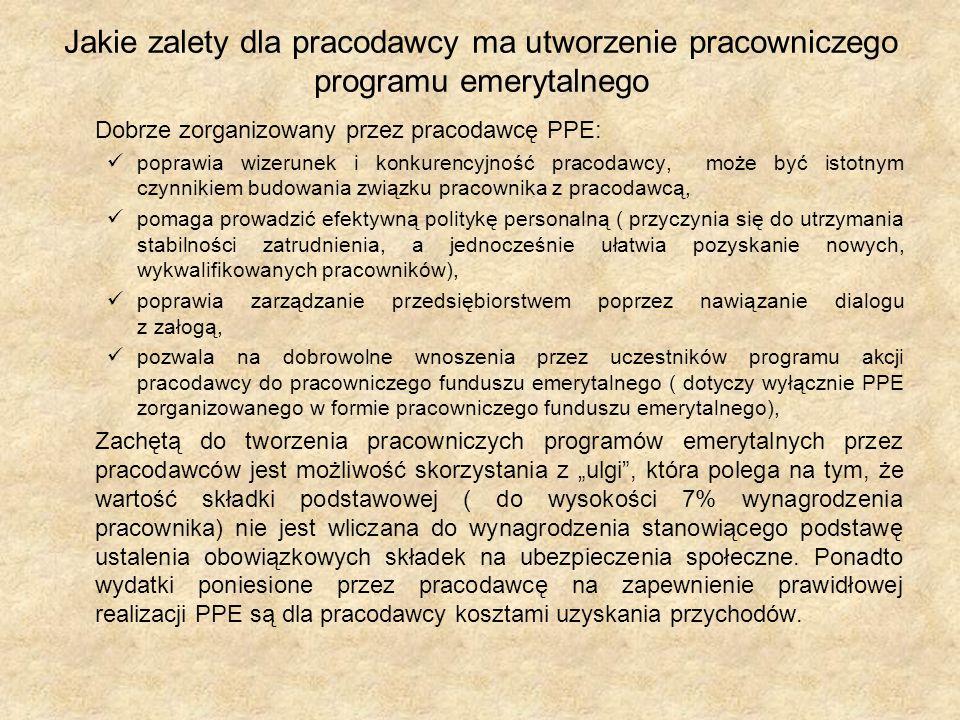 Jakie zalety dla pracodawcy ma utworzenie pracowniczego programu emerytalnego Dobrze zorganizowany przez pracodawcę PPE: poprawia wizerunek i konkuren