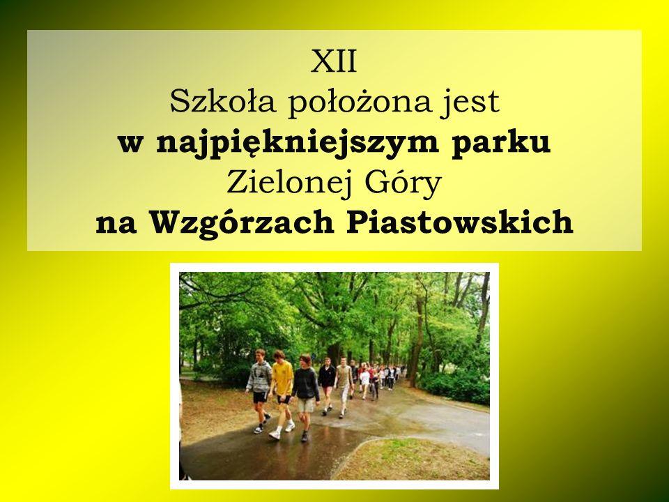 XII Szkoła położona jest w najpiękniejszym parku Zielonej Góry na Wzgórzach Piastowskich