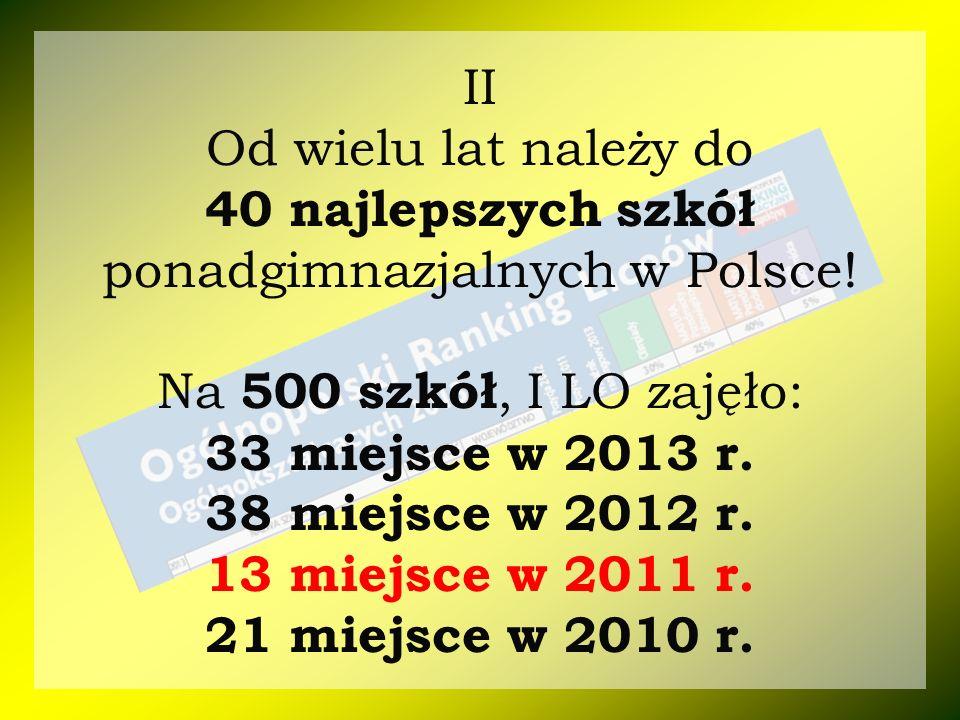II Od wielu lat należy do 40 najlepszych szkół ponadgimnazjalnych w Polsce! Na 500 szkół, I LO zajęło: 33 miejsce w 2013 r. 38 miejsce w 2012 r. 13 mi