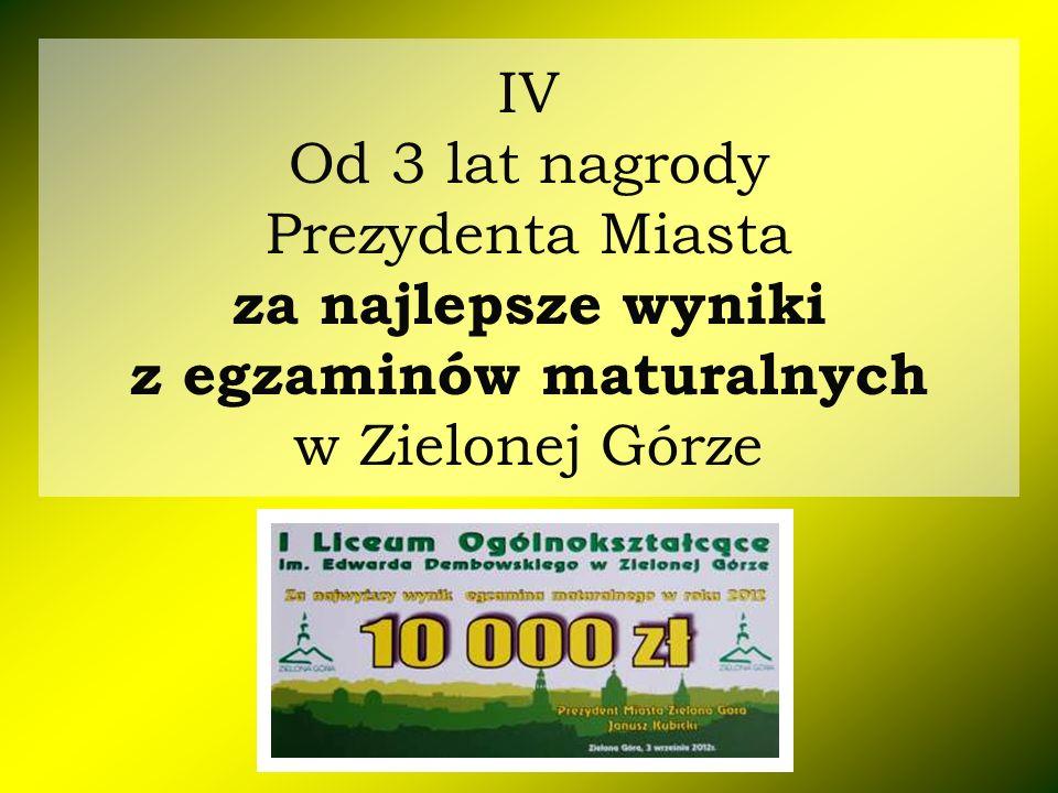IV Od 3 lat nagrody Prezydenta Miasta za najlepsze wyniki z egzaminów maturalnych w Zielonej Górze