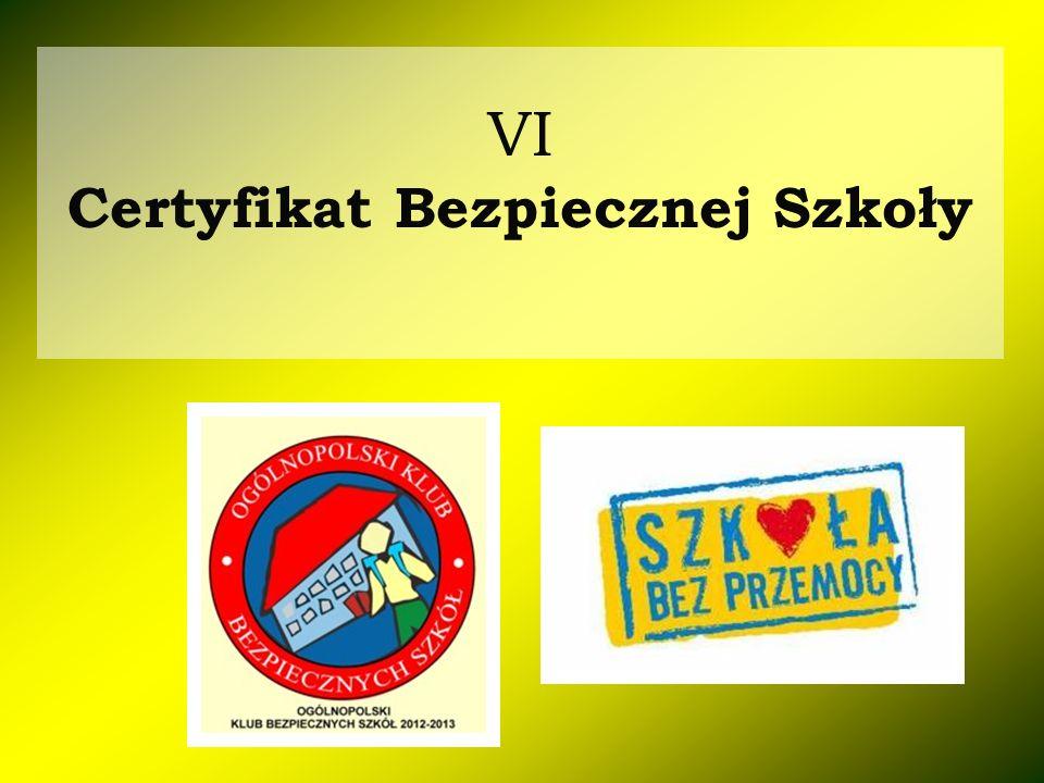 VI Certyfikat Bezpiecznej Szkoły