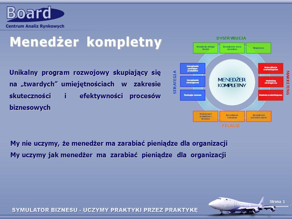 Strona 1 Menedżer kompletny Unikalny program rozwojowy skupiający się na twardych umiejętnościach w zakresie skuteczności i efektywności procesów bizn