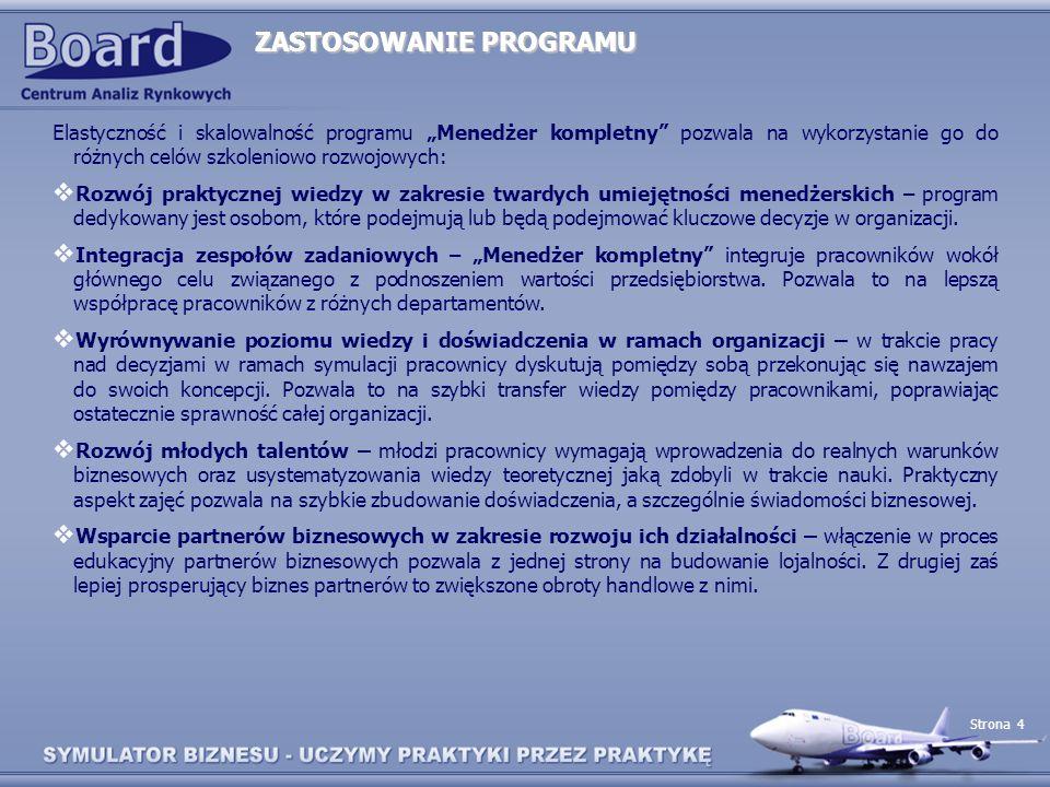 Strona 4 ZASTOSOWANIE PROGRAMU Elastyczność i skalowalność programu Menedżer kompletny pozwala na wykorzystanie go do różnych celów szkoleniowo rozwoj