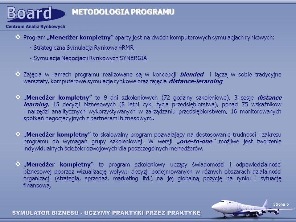 Strona 5 METODOLOGIA PROGRAMU Program Menedżer kompletny oparty jest na dwóch komputerowych symulacjach rynkowych: - Strategiczna Symulacja Rynkowa 4R