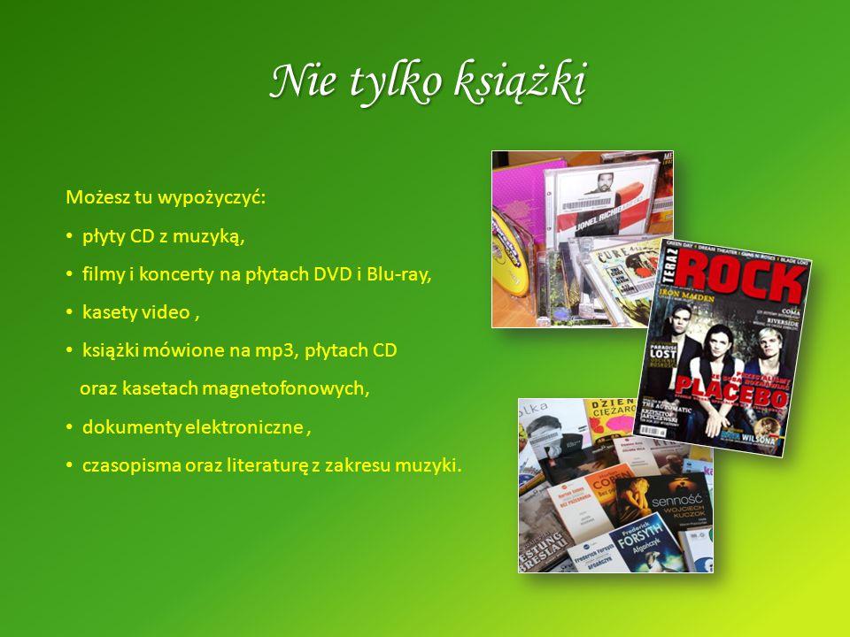 Możesz tu wypożyczyć: płyty CD z muzyką, filmy i koncerty na płytach DVD i Blu-ray, kasety video, książki mówione na mp3, płytach CD oraz kasetach mag