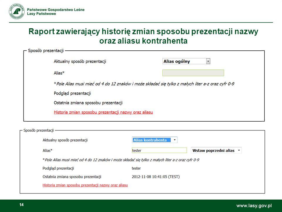 14 Raport zawierający historię zmian sposobu prezentacji nazwy oraz aliasu kontrahenta