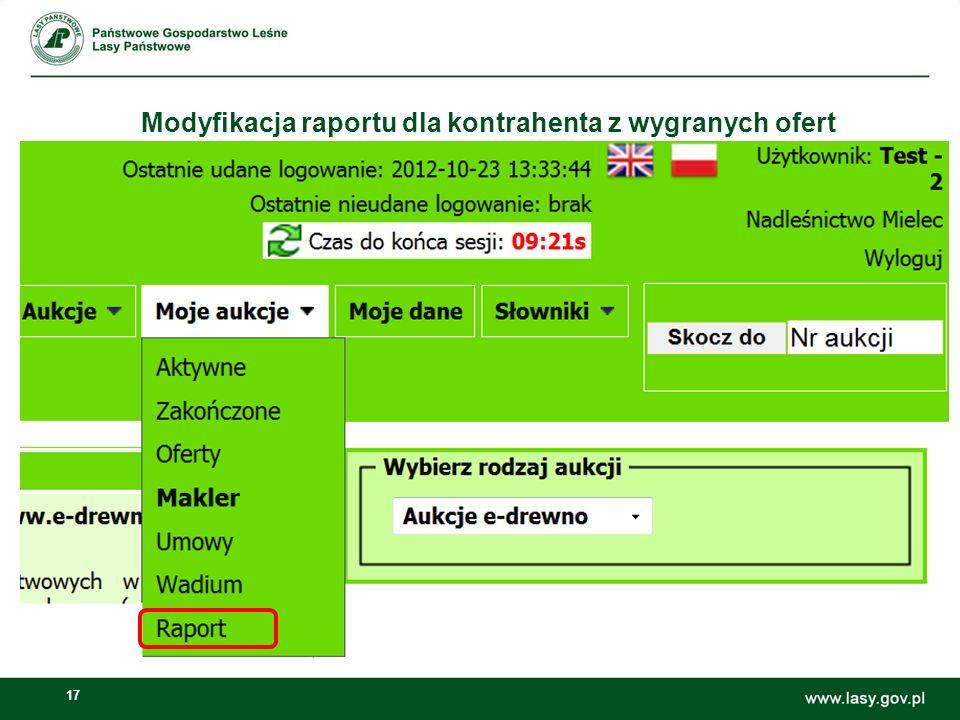 17 Modyfikacja raportu dla kontrahenta z wygranych ofert