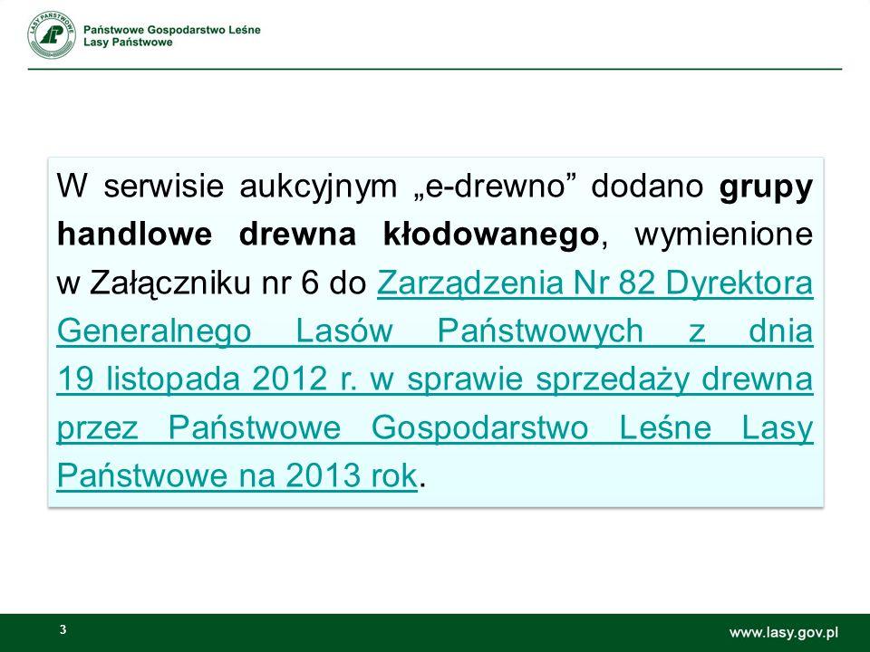 3 W serwisie aukcyjnym e-drewno dodano grupy handlowe drewna kłodowanego, wymienione w Załączniku nr 6 do Zarządzenia Nr 82 Dyrektora Generalnego Lasó