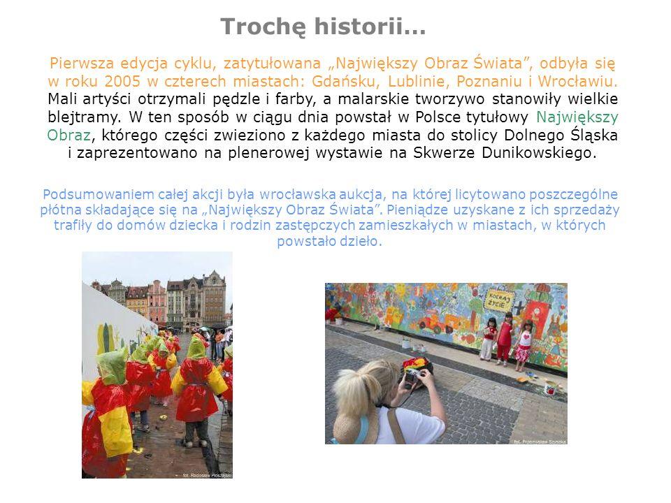 Trochę historii… Pierwsza edycja cyklu, zatytułowana Największy Obraz Świata, odbyła się w roku 2005 w czterech miastach: Gdańsku, Lublinie, Poznaniu i Wrocławiu.