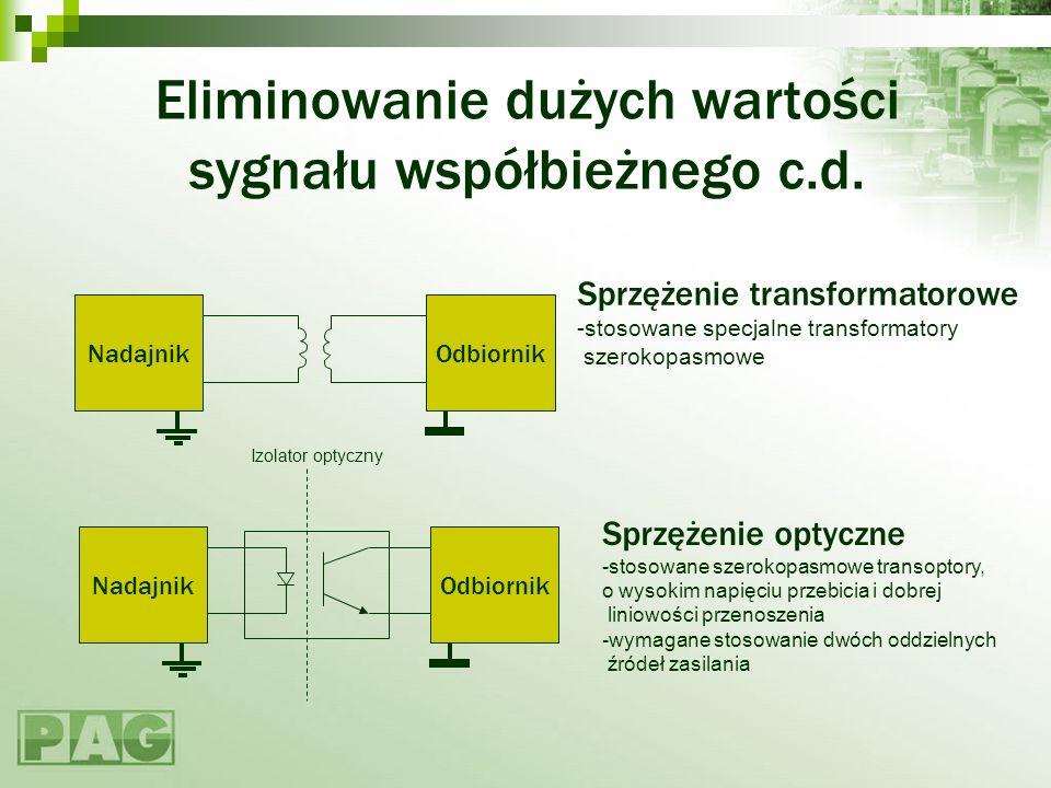 Eliminowanie dużych wartości sygnału współbieżnego c.d. NadajnikOdbiornik Sprzężenie transformatorowe -stosowane specjalne transformatory szerokopasmo