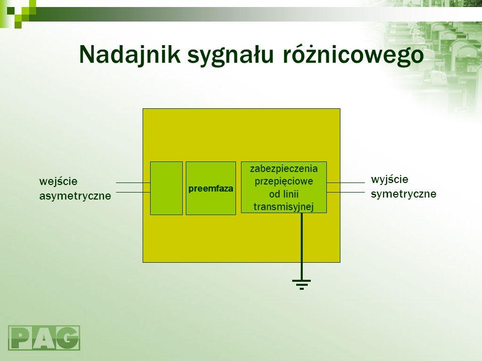 Nadajnik sygnału różnicowego wyjście symetryczne wejście asymetryczne zabezpieczenia przepięciowe od linii transmisyjnej preemfaza