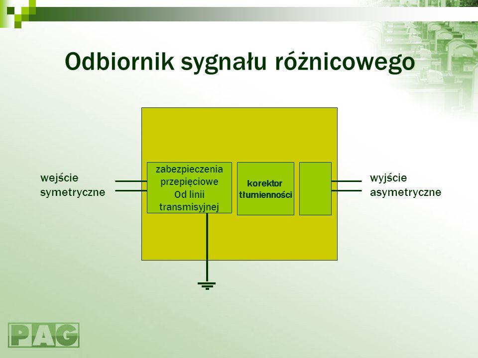 Odbiornik sygnału różnicowego wejście symetryczne wyjście asymetryczne korektor tłumienności zabezpieczenia przepięciowe Od linii transmisyjnej