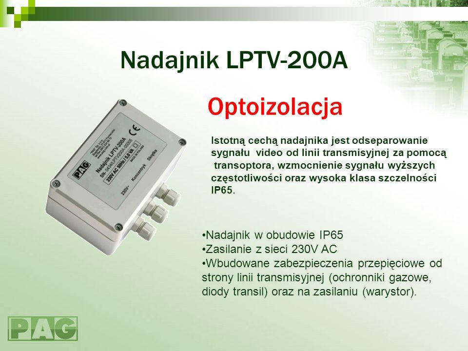 Nadajnik LPTV-200A Nadajnik w obudowie IP65 Zasilanie z sieci 230V AC Wbudowane zabezpieczenia przepięciowe od strony linii transmisyjnej (ochronniki