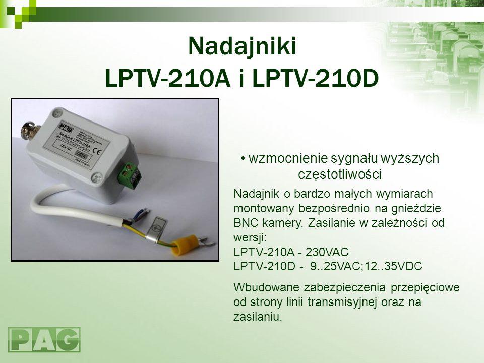 Nadajniki LPTV-210A i LPTV-210D Nadajnik o bardzo małych wymiarach montowany bezpośrednio na gnieździe BNC kamery. Zasilanie w zależności od wersji: L