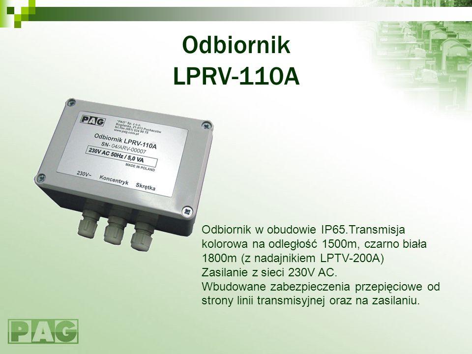 Odbiornik LPRV-110A Odbiornik w obudowie IP65.Transmisja kolorowa na odległość 1500m, czarno biała 1800m (z nadajnikiem LPTV-200A) Zasilanie z sieci 2