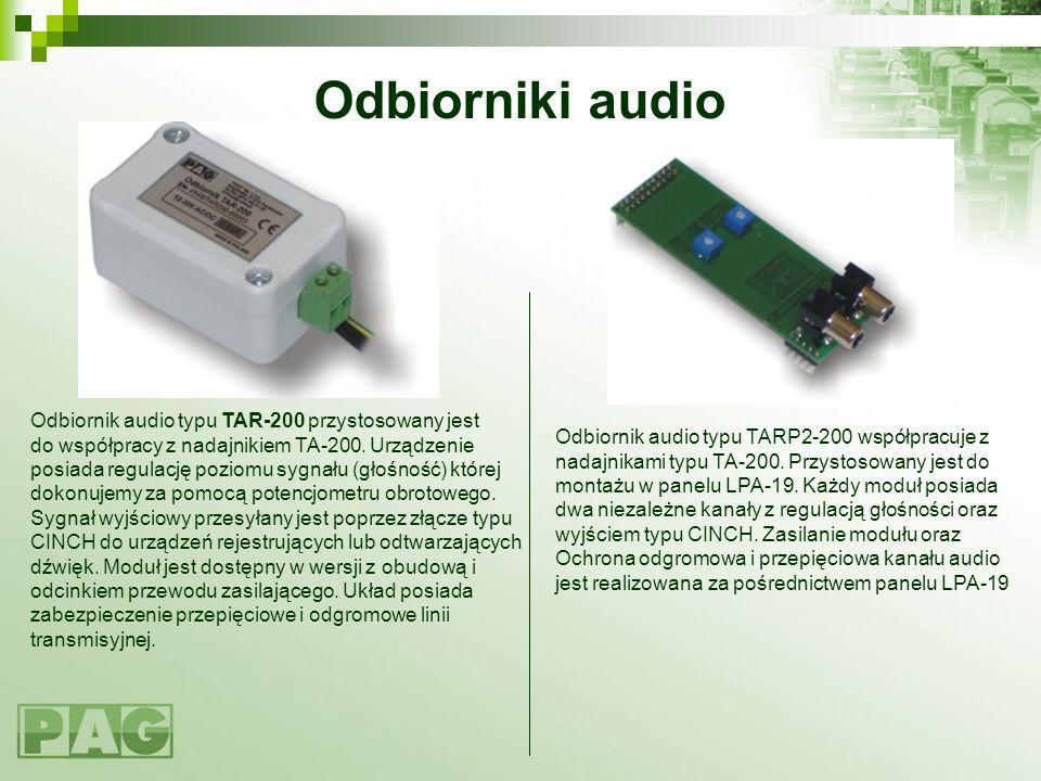 Odbiorniki audio Odbiornik audio typu TAR-200 przystosowany jest do współpracy z nadajnikiem TA-200. Urządzenie posiada regulację poziomu sygnału (gło