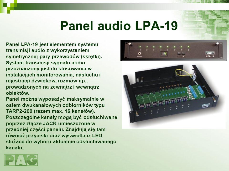 Panel audio LPA-19 Panel LPA-19 jest elementem systemu transmisji audio z wykorzystaniem symetrycznej pary przewodów (skrętki). System transmisji sygn