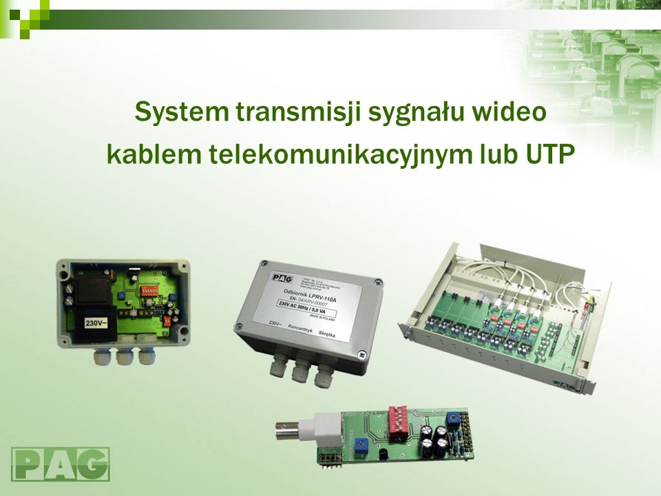 System transmisji sygnału wideo kablem telekomunikacyjnym lub UTP