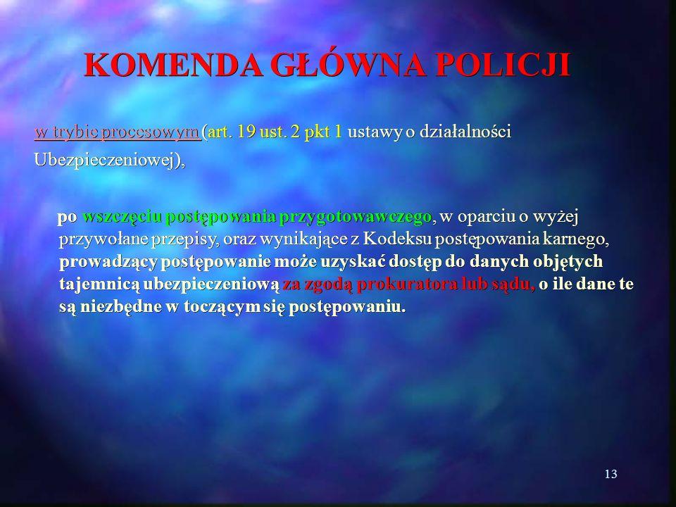 13 KOMENDA GŁÓWNA POLICJI w trybie procesowym (art. 19 ust. 2 pkt 1 ustawy o działalności Ubezpieczeniowej), po wszczęciu postępowania przygotowawczeg
