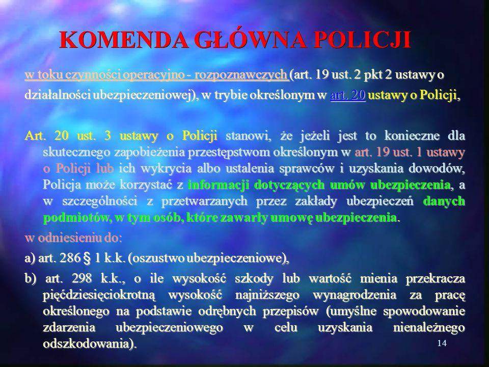 14 KOMENDA GŁÓWNA POLICJI w toku czynności operacyjno - rozpoznawczych (art. 19 ust. 2 pkt 2 ustawy o działalności ubezpieczeniowej), w trybie określo