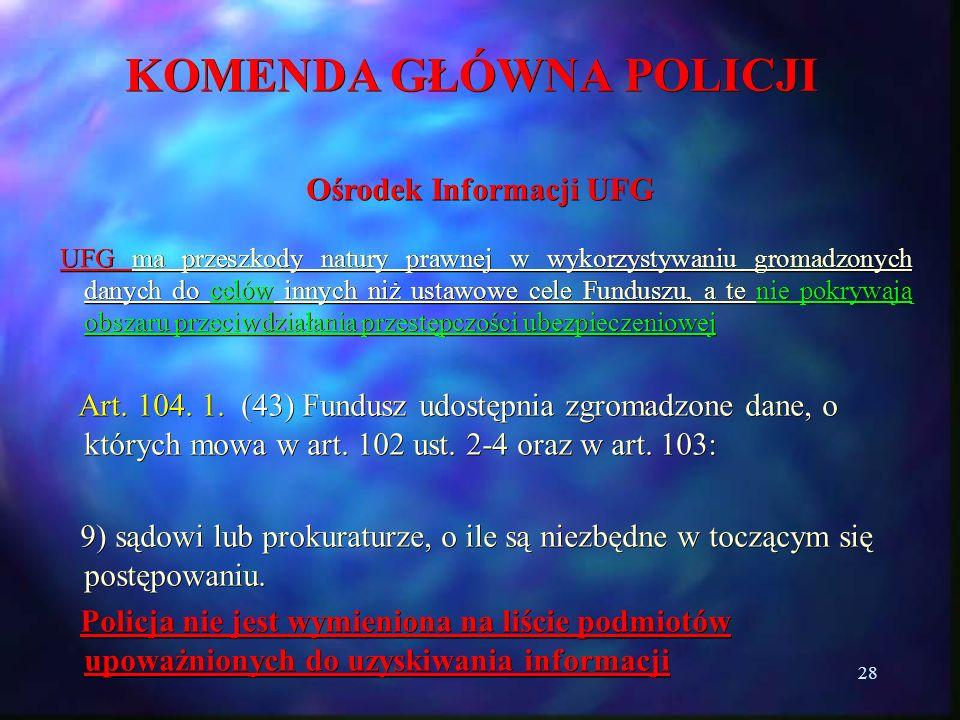 28 KOMENDA GŁÓWNA POLICJI Ośrodek Informacji UFG UFG ma przeszkody natury prawnej w wykorzystywaniu gromadzonych danych do celów innych niż ustawowe c