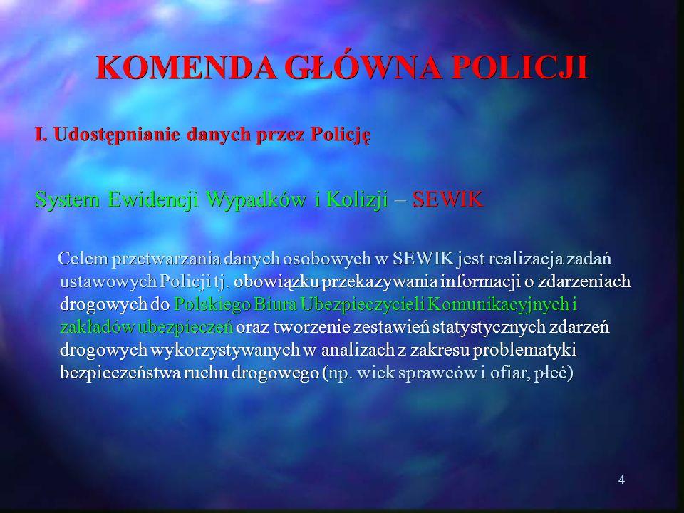 4 KOMENDA GŁÓWNA POLICJI I. Udostępnianie danych przez Policję System Ewidencji Wypadków i Kolizji – SEWIK Celem przetwarzania danych osobowych w SEWI