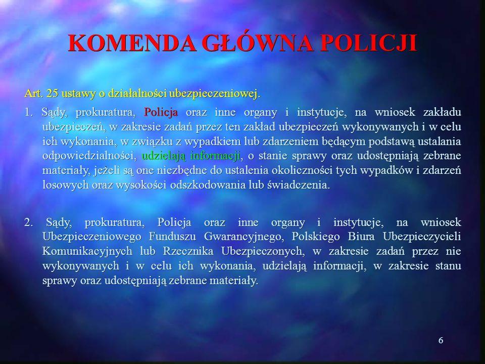 17 KOMENDA GŁÓWNA POLICJI Uprawniony przez sąd organ Policji pisemnie informuje podmiot zobowiązany do udostępnienia informacji i danych, o: rodzaju i zakresie informacji i danych które mają być udostępnione, podmiocie, którego informacje i dane dotyczą, oraz osobie policjanta upoważnionego do ich odbioru – art.