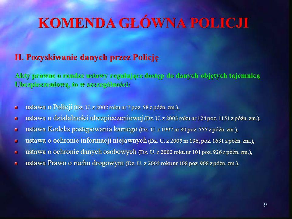 9 KOMENDA GŁÓWNA POLICJI II. Pozyskiwanie danych przez Policję Akty prawne o randze ustawy regulujące dostęp do danych objętych tajemnicą Ubezpieczeni