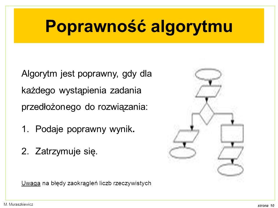 strona 10 M. Muraszkiewicz Poprawność algorytmu Algorytm jest poprawny, gdy dla każdego wystąpienia zadania przedłożonego do rozwiązania: 1.Podaje pop