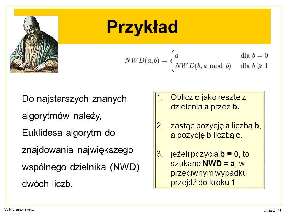 strona 11 M. Muraszkiewicz Przykład Do najstarszych znanych algorytmów należy, Euklidesa algorytm do znajdowania największego wspólnego dzielnika (NWD