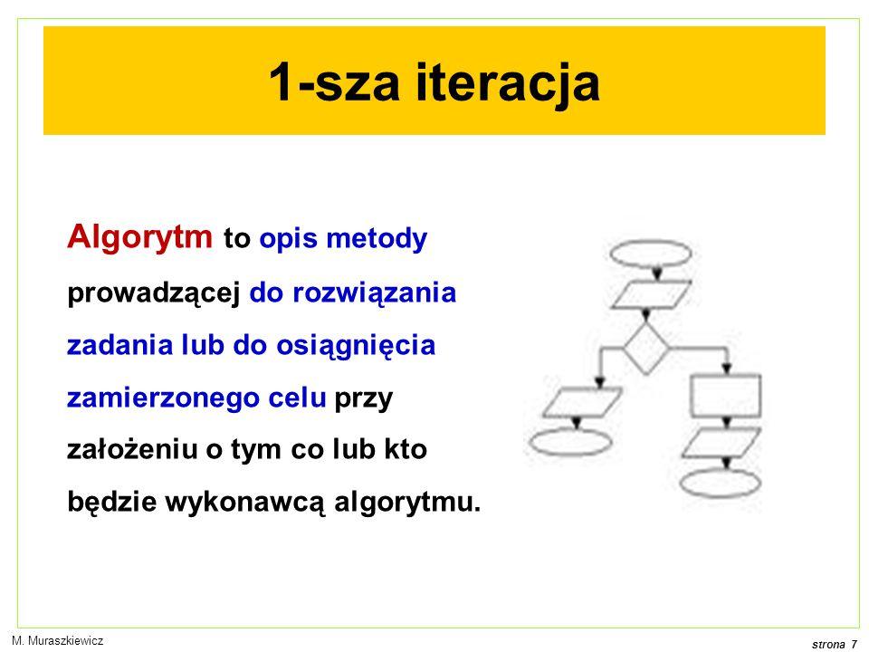 strona 7 M. Muraszkiewicz 1-sza iteracja Algorytm to opis metody prowadzącej do rozwiązania zadania lub do osiągnięcia zamierzonego celu przy założeni