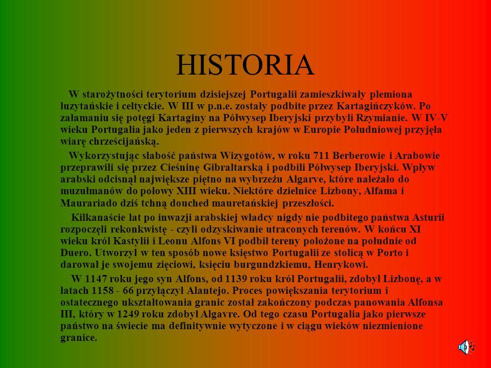 INFORMACJE OGÓLNE Państwo położone w zachodniej części Półwyspu Iberyjskiego. Do Portugalii należą również wyspy Madera i Azory na Oceanie Atlantyckim