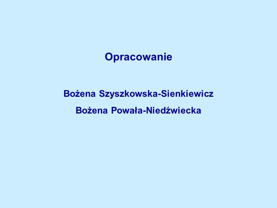 Opracowanie Bożena Szyszkowska-Sienkiewicz Bożena Powała-Niedźwiecka