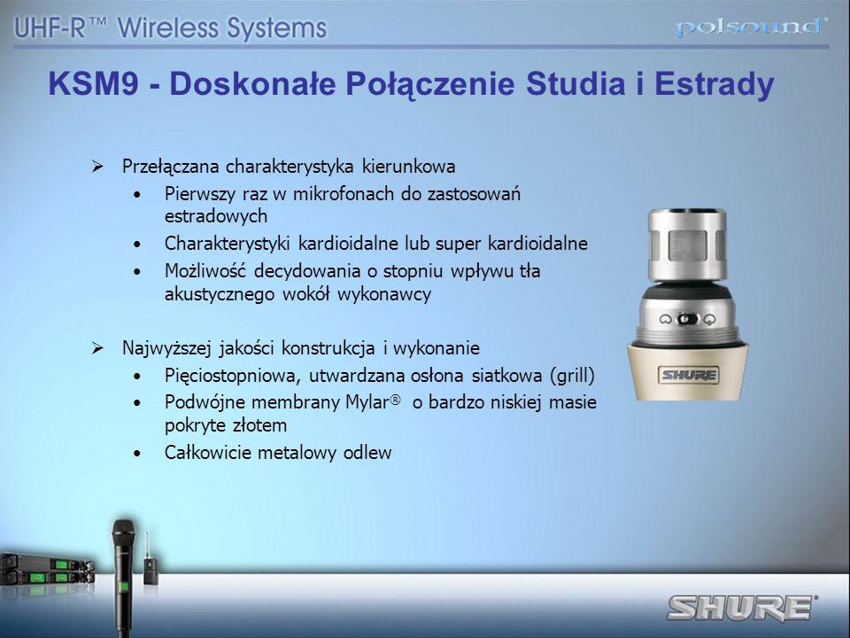 Przełączana charakterystyka kierunkowa Pierwszy raz w mikrofonach do zastosowań estradowych Charakterystyki kardioidalne lub super kardioidalne Możliw