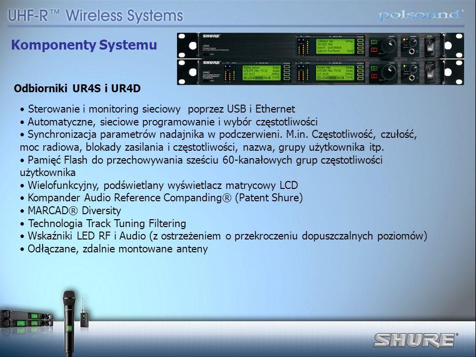 Komponenty Systemu Odbiorniki UR4S i UR4D Sterowanie i monitoring sieciowy poprzez USB i Ethernet Automatyczne, sieciowe programowanie i wybór częstot