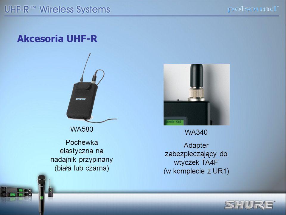Akcesoria UHF-R WA580 Pochewka elastyczna na nadajnik przypinany (biała lub czarna) WA340 Adapter zabezpieczający do wtyczek TA4F (w komplecie z UR1)