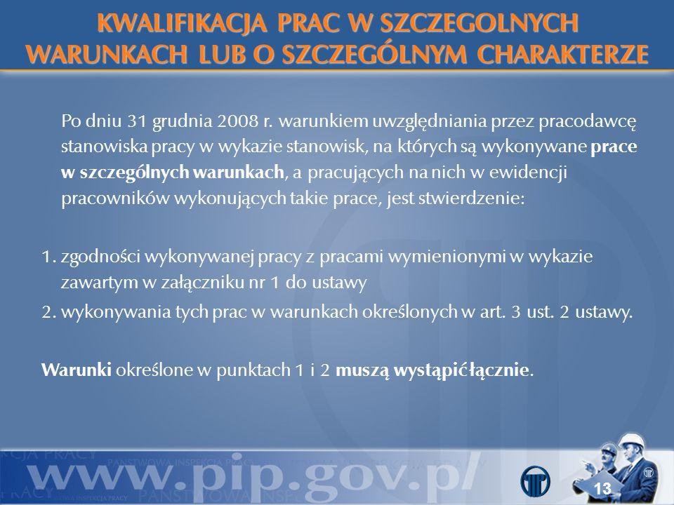 13 Po dniu 31 grudnia 2008 r. warunkiem uwzględniania przez pracodawcę stanowiska pracy w wykazie stanowisk, na których są wykonywane prace w szczegól