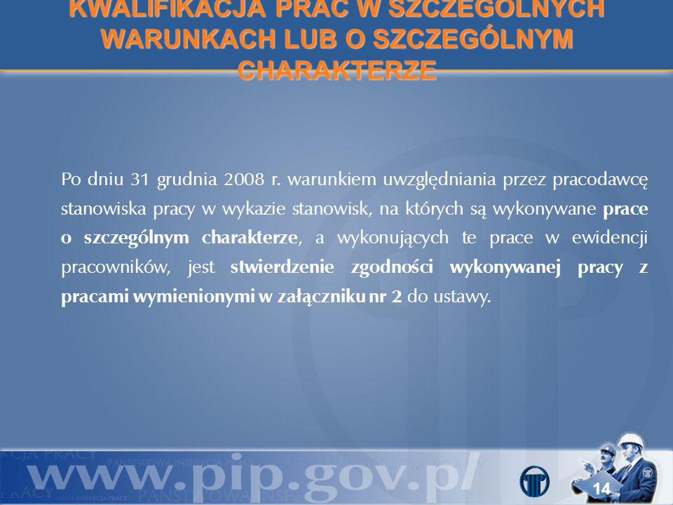14 Po dniu 31 grudnia 2008 r. warunkiem uwzględniania przez pracodawcę stanowiska pracy w wykazie stanowisk, na których są wykonywane prace o szczegól