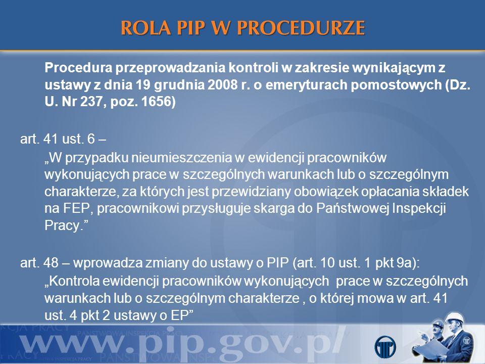 Procedura przeprowadzania kontroli w zakresie wynikającym z ustawy z dnia 19 grudnia 2008 r. o emeryturach pomostowych (Dz. U. Nr 237, poz. 1656) art.