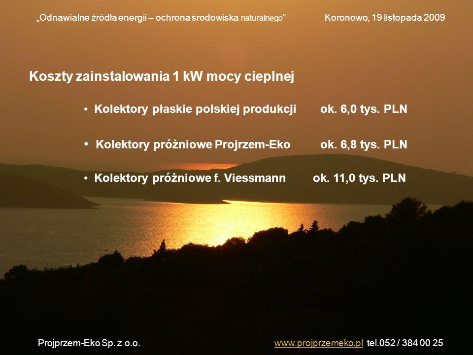 Koszty zainstalowania 1 kW mocy cieplnej Kolektory płaskie polskiej produkcjiok. 6,0 tys. PLN Kolektory próżniowe Projrzem-Ekook. 6,8 tys. PLN Kolekto