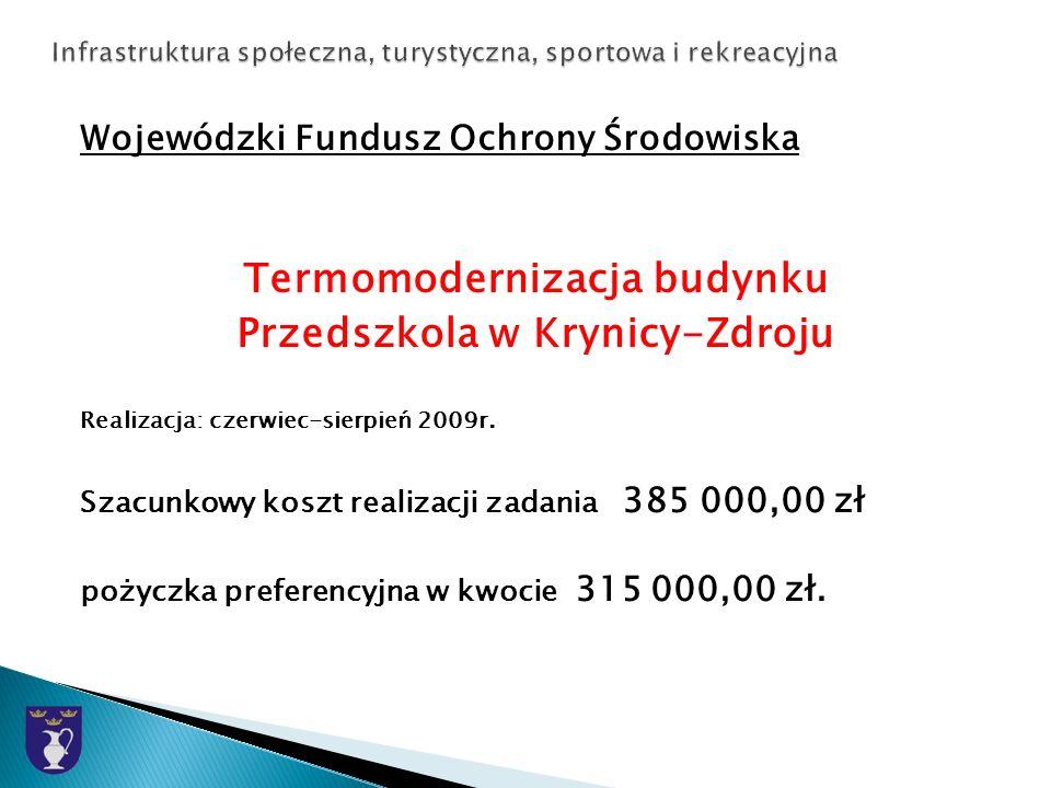Wojewódzki Fundusz Ochrony Środowiska Termomodernizacja budynku Przedszkola w Krynicy-Zdroju Realizacja: czerwiec-sierpień 2009r.
