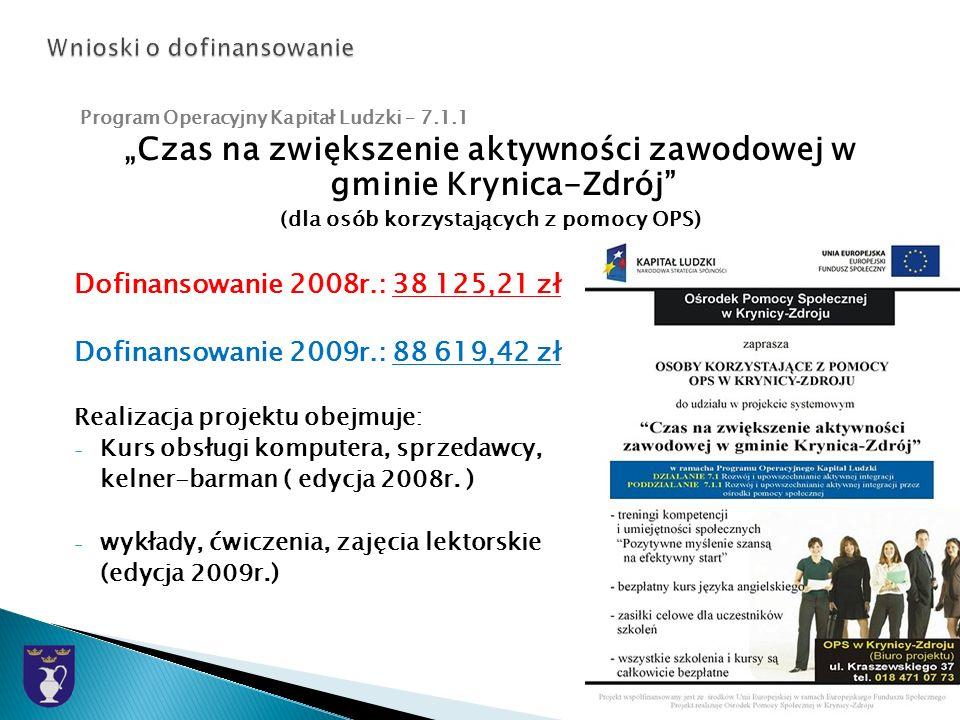 Program Operacyjny Kapitał Ludzki – 7.1.1 Czas na zwiększenie aktywności zawodowej w gminie Krynica-Zdrój (dla osób korzystających z pomocy OPS) Dofinansowanie 2008r.: 38 125,21 zł Dofinansowanie 2009r.: 88 619,42 zł Realizacja projektu obejmuje: - Kurs obsługi komputera, sprzedawcy, kelner-barman ( edycja 2008r.