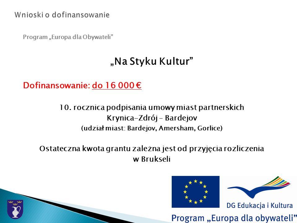 Program Europa dla Obywateli Na Styku Kultur Dofinansowanie: do 16 000 10.