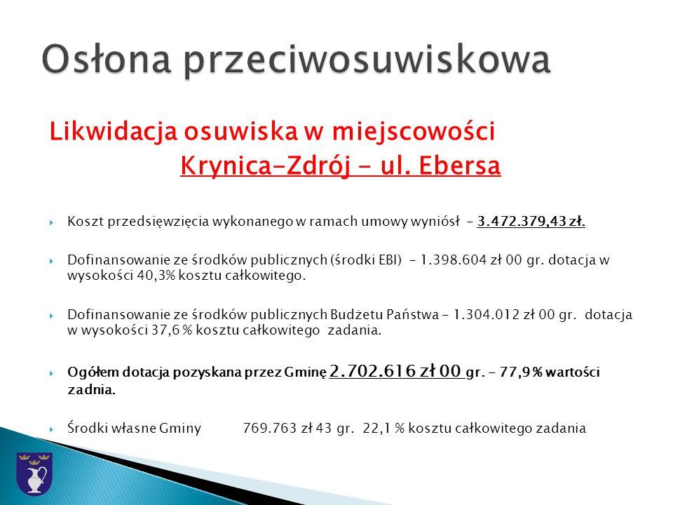 Likwidacja osuwiska w miejscowości Krynica-Zdrój - ul.