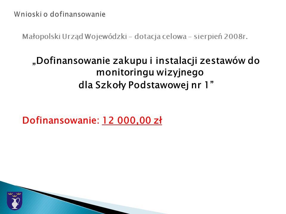 Małopolski Urząd Wojewódzki – dotacja celowa – sierpień 2008r.