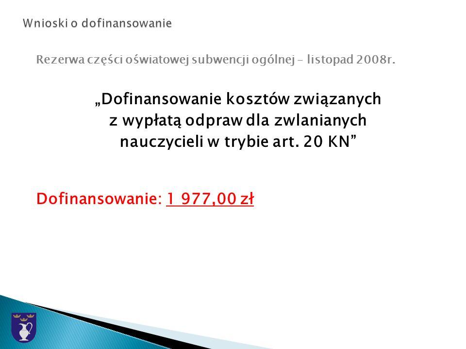 Rezerwa części oświatowej subwencji ogólnej – listopad 2008r.